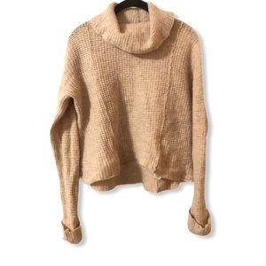 Free People Light Brown Cropped Wool Turtleneck